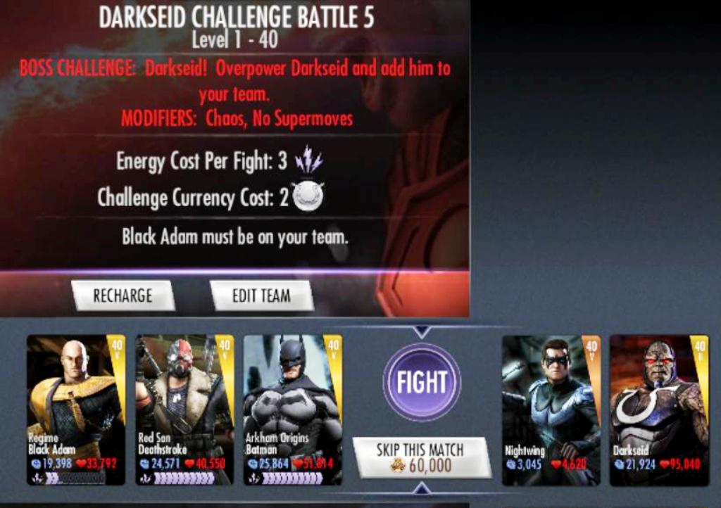 darkseid final match chuck seeger